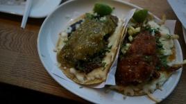 Quesadillas (left: Birria w/ Salsa Verde | Right: Al Pastor w/ Salsa Taquera)